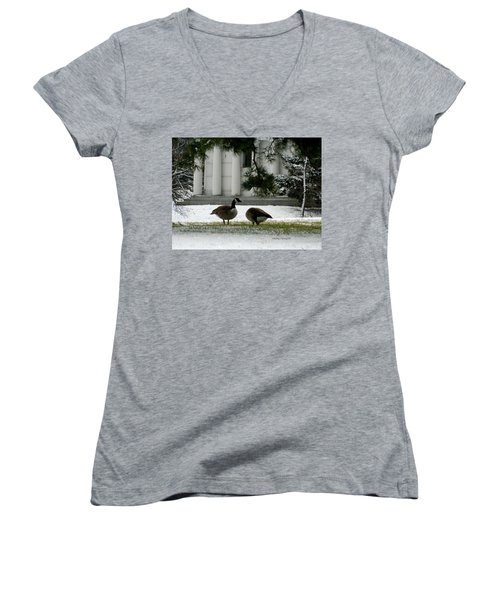 Women's V-Neck T-Shirt (Junior Cut) featuring the photograph Geese In Snow by Kathy Barney