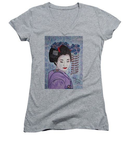 Women's V-Neck T-Shirt (Junior Cut) featuring the painting Geisha Girl by Kathy Marrs Chandler