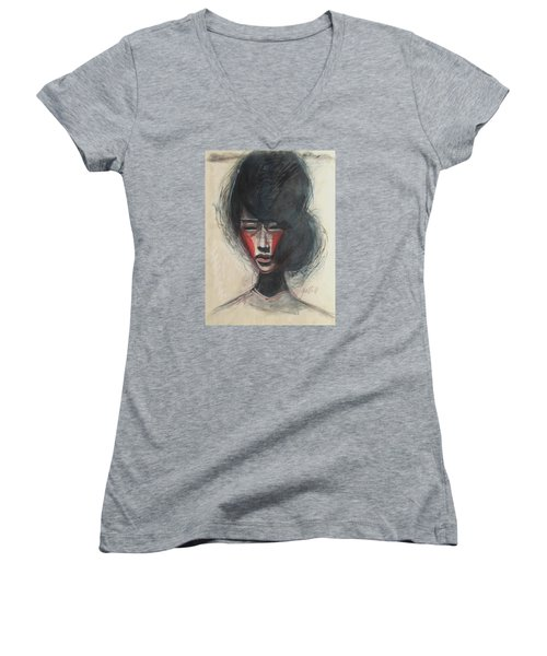 Geisha Make Up Women's V-Neck T-Shirt (Junior Cut) by Jarmo Korhonen aka Jarko