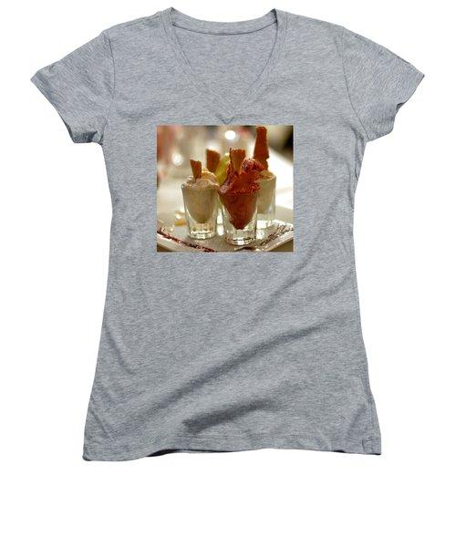 Gelato At Manducati's Rustica Women's V-Neck T-Shirt (Junior Cut) by Steve Archbold
