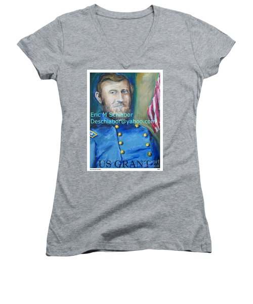 Women's V-Neck T-Shirt (Junior Cut) featuring the painting General Us Grant  by Eric  Schiabor
