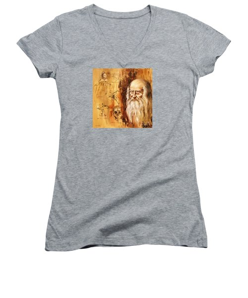 Women's V-Neck T-Shirt (Junior Cut) featuring the painting Genius   Leonardo Da Vinci by Arturas Slapsys