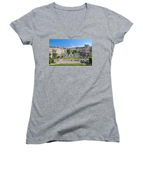 Genova - Piazza Della Vittoria Overview Women's V-Neck T-Shirt (Junior Cut) by Antonio Scarpi