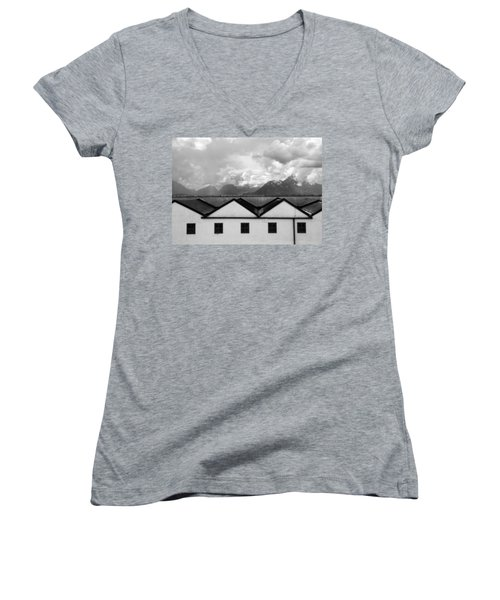 Women's V-Neck T-Shirt (Junior Cut) featuring the photograph Geometric Architecture In Black And White by Brooke T Ryan