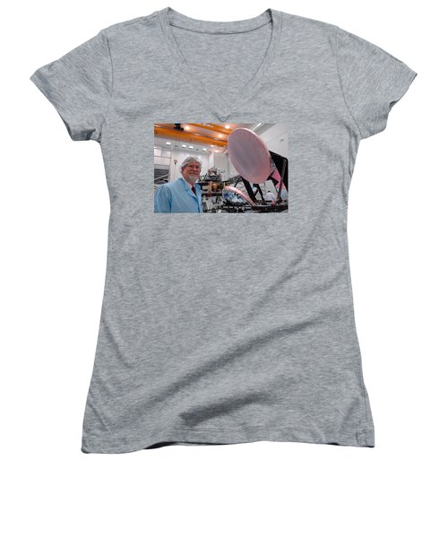 Women's V-Neck T-Shirt (Junior Cut) featuring the photograph George F. Smoot With Planck Obs. Mirrors by Science Source