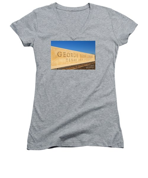 George H. Bush Library, Texas Women's V-Neck (Athletic Fit)