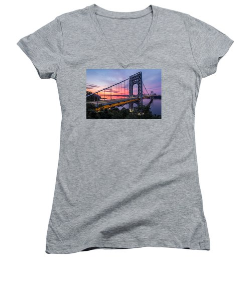 George Washington Bridge Women's V-Neck T-Shirt (Junior Cut) by Mihai Andritoiu