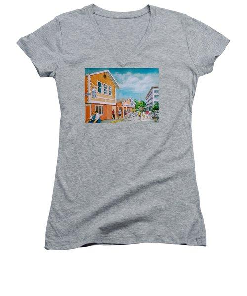 Georgetown Grand Cayman Women's V-Neck T-Shirt (Junior Cut) by Frank Hunter