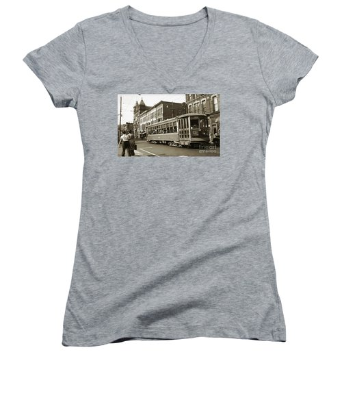 Georgetown Trolley E Market St Wilkes Barre Pa By City Hall Mid 1900s Women's V-Neck (Athletic Fit)