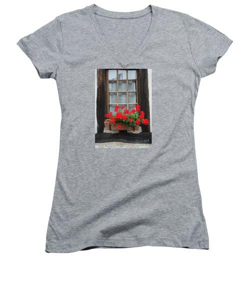 Geraniums In Timber Window Women's V-Neck T-Shirt (Junior Cut) by Barbie Corbett-Newmin