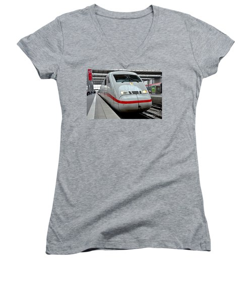 German Ice Intercity Bullet Train Munich Germany Women's V-Neck (Athletic Fit)