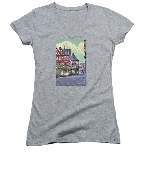 German Village Along Rhine River Women's V-Neck T-Shirt