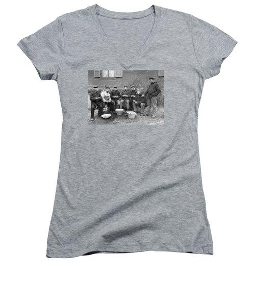 Germans Peeling Potatoes Women's V-Neck T-Shirt (Junior Cut) by Underwood Archives