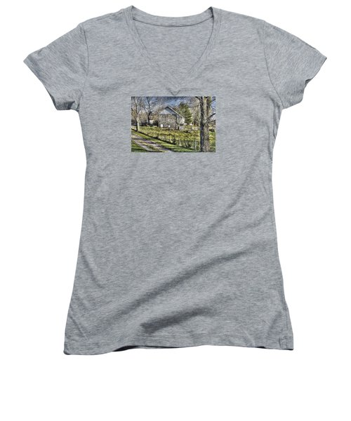 Women's V-Neck T-Shirt (Junior Cut) featuring the photograph Gettysburg At Rest - Sarah Patterson Farm Field Hospital Muted by Michael Mazaika