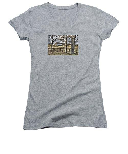 Women's V-Neck T-Shirt (Junior Cut) featuring the photograph Gettysburg At Rest - Winter Muted Edward Mc Pherson Farm by Michael Mazaika