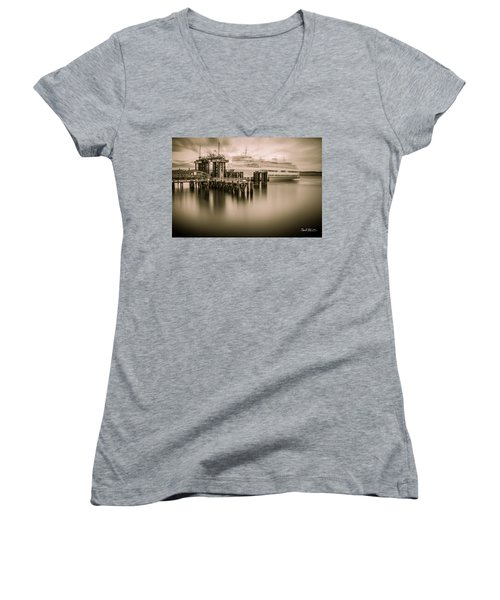 Ghost Ferry Women's V-Neck T-Shirt (Junior Cut) by Charlie Duncan