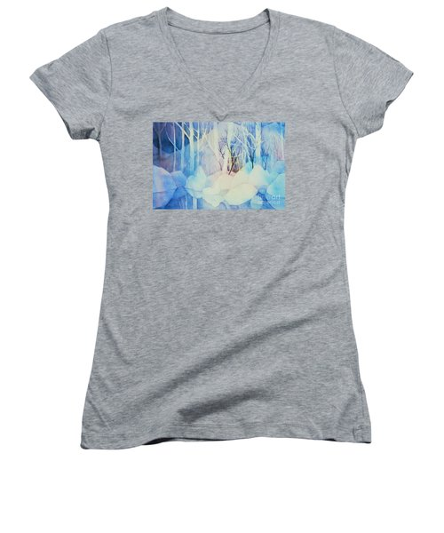 Women's V-Neck T-Shirt (Junior Cut) featuring the painting Ghost Forest by Teresa Ascone