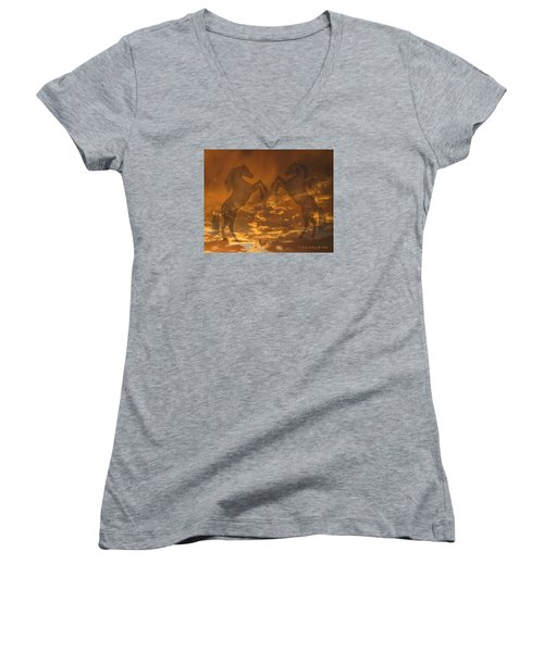 Ghost Horses At Sunset Women's V-Neck T-Shirt (Junior Cut) by Donald and Judi Hall