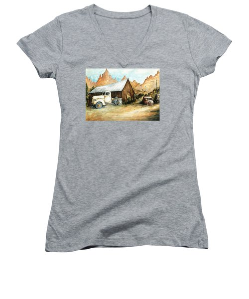 Ghost Town Nevada - Western Art Painting Women's V-Neck