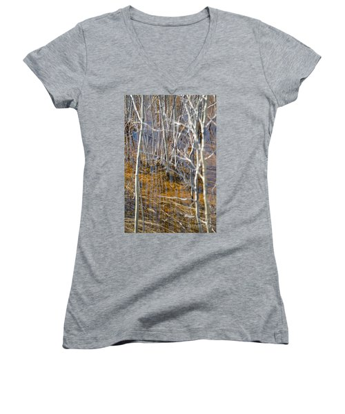 Women's V-Neck T-Shirt (Junior Cut) featuring the photograph Ghost Willows by Brian Boyle