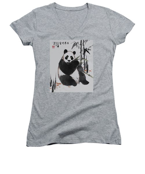 Women's V-Neck T-Shirt (Junior Cut) featuring the photograph Giant Panda by Yufeng Wang