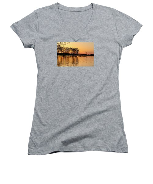 Women's V-Neck T-Shirt (Junior Cut) featuring the photograph Gilded Sunset by Julie Andel