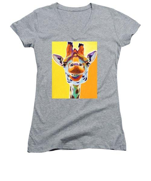 Giraffe - Sunflower Women's V-Neck T-Shirt