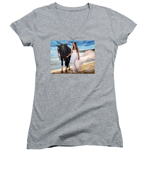Women's V-Neck T-Shirt (Junior Cut) featuring the painting Girl And Horse On Beach by Tim Gilliland