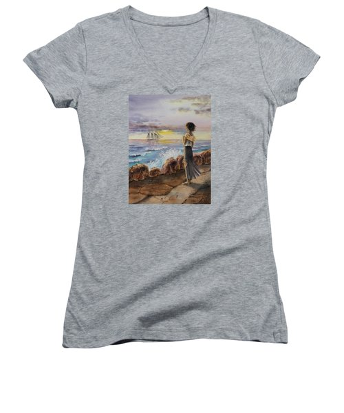 Women's V-Neck T-Shirt featuring the painting Girl And The Ocean Sailing Ship by Irina Sztukowski