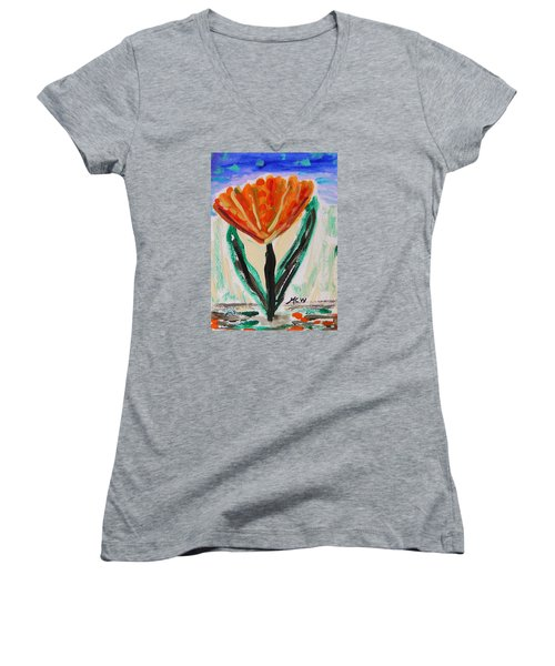 Women's V-Neck T-Shirt (Junior Cut) featuring the painting Girl-flowers From The Flower Patch by Mary Carol Williams