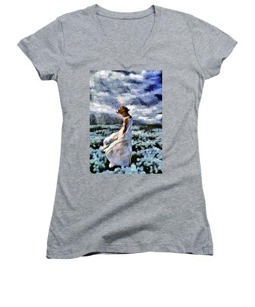 Girl In A Cotton Field Women's V-Neck