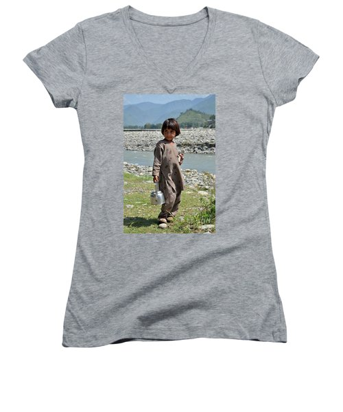 Girl Poses For Camera  Women's V-Neck (Athletic Fit)