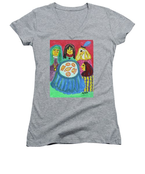 Women's V-Neck T-Shirt (Junior Cut) featuring the painting Girlfriends by Diane Pape