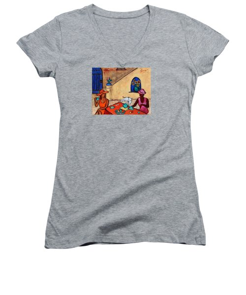 Women's V-Neck T-Shirt featuring the painting Girlfriends' Teatime II by Xueling Zou