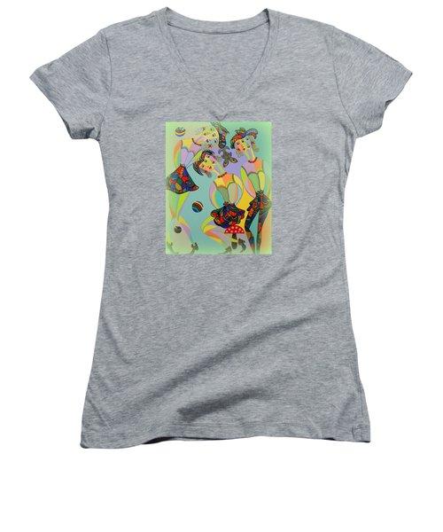 Girls Fantasy Women's V-Neck T-Shirt (Junior Cut) by Marie Schwarzer