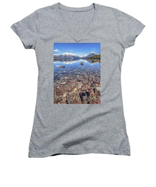 Glacial Lake Mcdonald Women's V-Neck T-Shirt (Junior Cut) by Aaron Aldrich