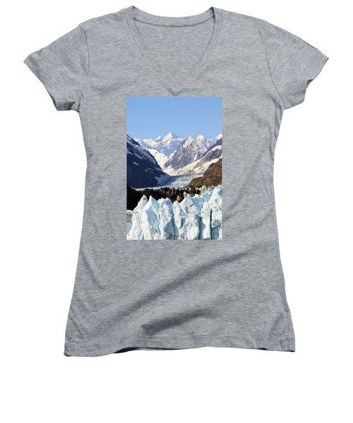 Women's V-Neck T-Shirt (Junior Cut) featuring the photograph Glacier Bay Alaska by Sonya Lang