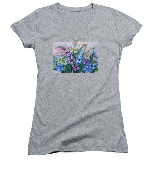 Gladiolus Women's V-Neck T-Shirt (Junior Cut) by Natalie Holland