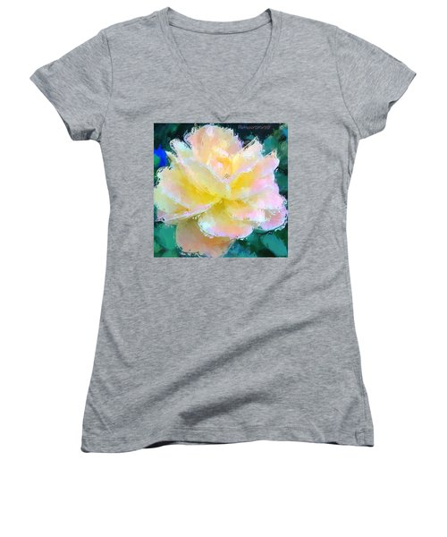 Glazed Pale Pink And Yellow Rose  Women's V-Neck T-Shirt (Junior Cut) by Anna Porter