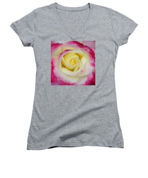 Glazed Red-tipped Rose Women's V-Neck T-Shirt