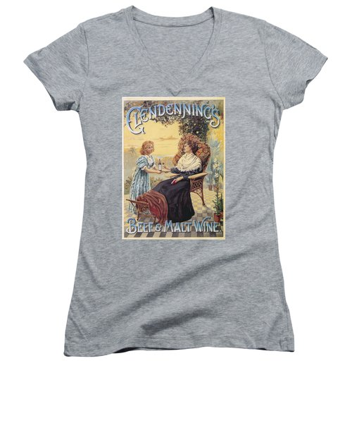 Women's V-Neck T-Shirt (Junior Cut) featuring the photograph Glendenning's Beef And Malt Wine Ad by Gianfranco Weiss