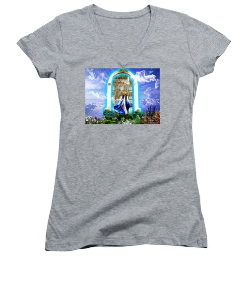 Glory Portal  Women's V-Neck T-Shirt (Junior Cut) by Dolores Develde