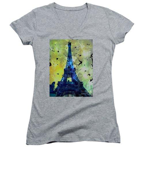 Glowing Eiffel Tower Women's V-Neck T-Shirt