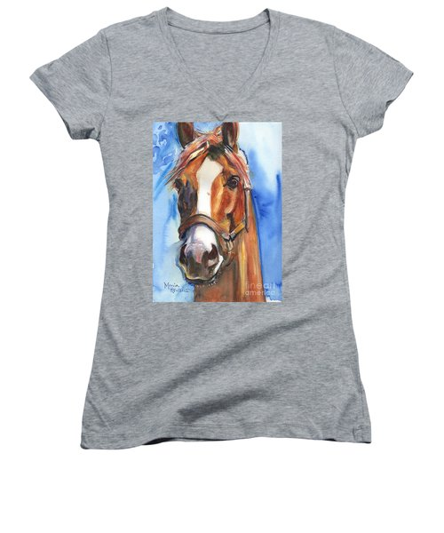 Horse Painting Of California Chrome Go Chrome Women's V-Neck T-Shirt (Junior Cut)