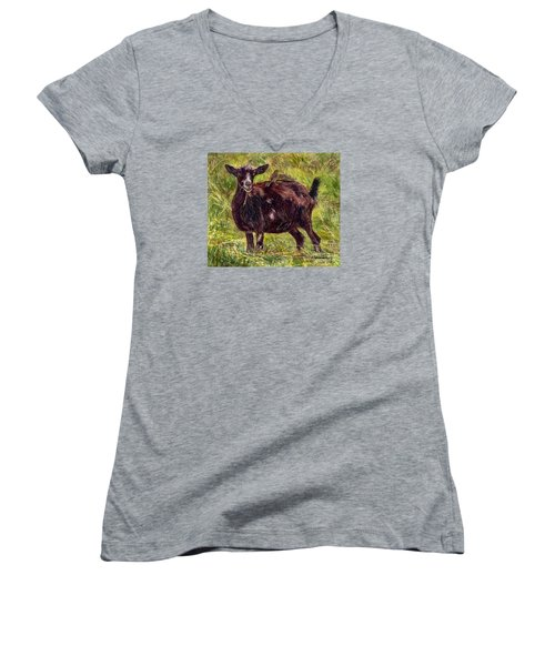 Goat Piggybackers Women's V-Neck (Athletic Fit)