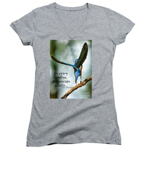 God Will Provide A Hello Women's V-Neck (Athletic Fit)
