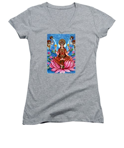 Goddess Lakshmi Women's V-Neck T-Shirt (Junior Cut) by Harsh Malik