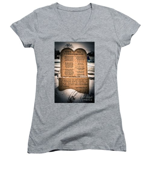 God's Ten Commandments Women's V-Neck (Athletic Fit)