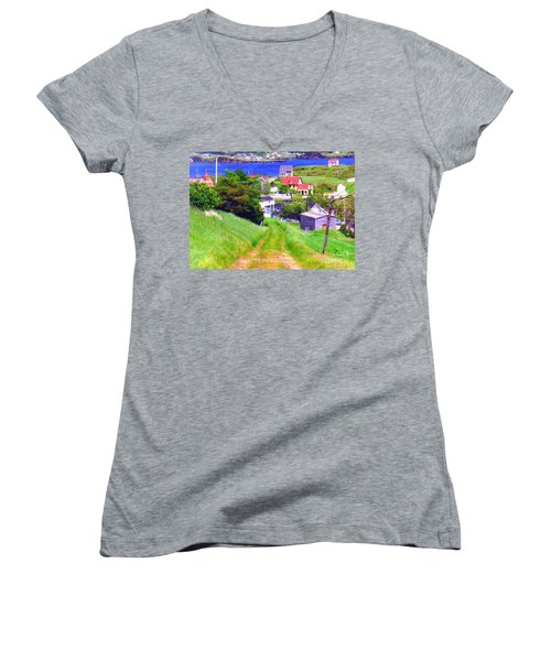 Going Down To Town Women's V-Neck (Athletic Fit)