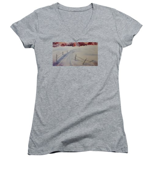Women's V-Neck T-Shirt (Junior Cut) featuring the painting Going Home by Richard Faulkner